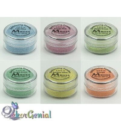 Embossing Powder Colors set, Einbrennpulver Farben set, 6st.  x  10ml, von Mboss