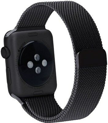 North A-136873-MH Stainless Steel Mesh Band for 1.5-Inch Apple Watch - Black
