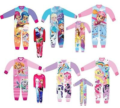 Girls Disney Princess All In One  Sleepsuit Sleepwalker Pyjamas 18-24 To 8 Years