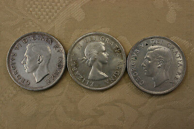 Lot of 3 Canadian 80% Silver Dollars 1952, 1947, 1958