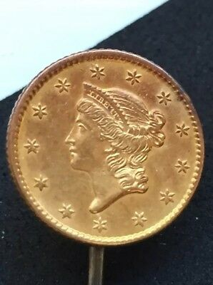 One 1 Dollar Gold Coin Liberty Head closed wreath no L Stick Pin 1850? Jewelry