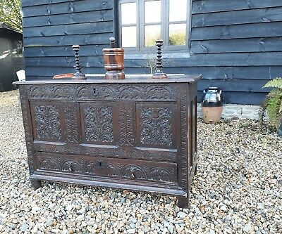 Early carved oak coffer mule chest blanket chest 17th century period oak tv