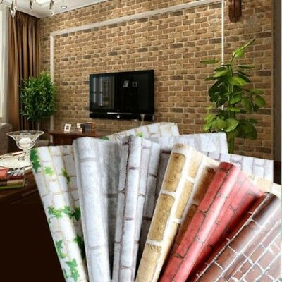 10m/33ft 3D Wallpaper Brick Pattern Self-adhesive Waterproof Wall Sticker Decor