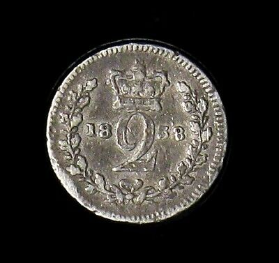 1838 Great Britain 2 Pence silver coin KM# 729 Maundy