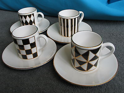4 Hornsea Silhouette demitasse coffee cups and saucers