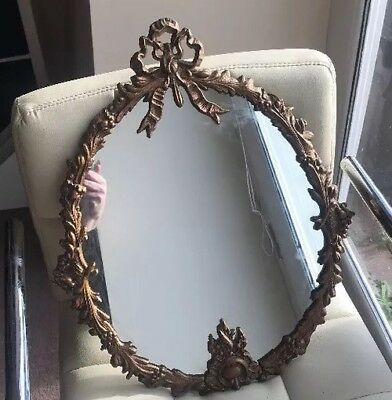 Ornate Antique Brass Framed Mirror Bows And Leaves Lovely Patina
