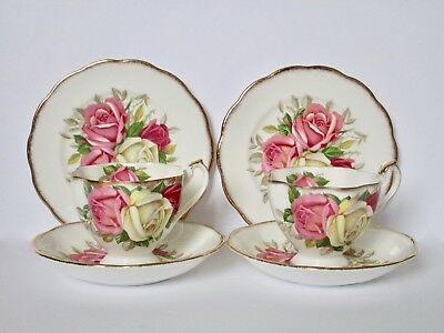 Set of 2, Queen Anne Fine Bone China Lady Sylvia Tea Cup and Saucer