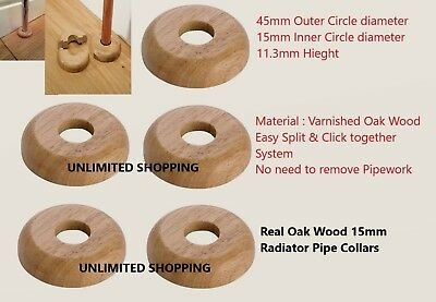 15mm SOLID OAK COLOUR WOODEN WOOD RADIATOR PIPE COLLARS COVER FLOOR UK SELLER