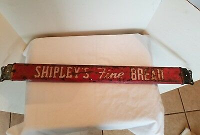 VINTAGE DOOR PUSH PULL HANDLE Bread Sign Advertising 1940s Shipley's Fine Bread
