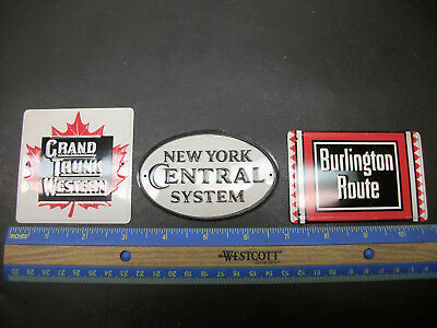 3 Vintage Post Cereal Metal Grand Trunk Ny Central Railroad Sign Promo Premiums