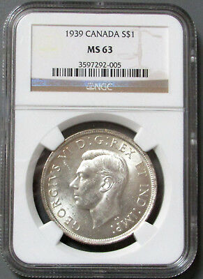 1939 Canada Silver $1 Ngc Ms 63
