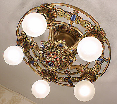20's  ANTIQUE VINTAGE Art Deco RIDDLE  Ceiling Light Fixture CHANDELIER