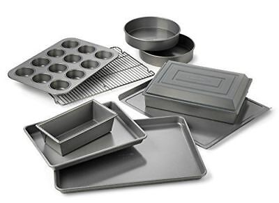 Calphalon Nonstick Bakeware Set 10pc Baking Pans Cookie Sheet Cake Cooling Rack