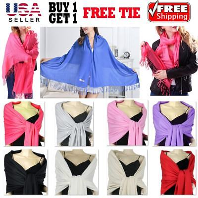 Soft Silky Solid Pashmina Shawl Wrap Scarf  Evening Wedding Bridesmaid Cashmere