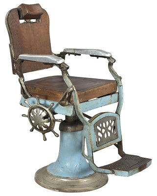 Antique Classic Vintage Barber Chair,Wood and Metal,36'' X 41''H
