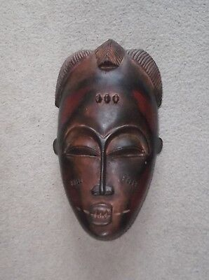 Hand Carved West African Wooden Wall Mask