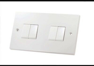 4 Gang 2 Way Light Switch White 10 Amp Double Plate