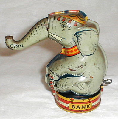 Antique! Signed Chein USA Tin Litho Mechanical Elephant Bank Coin Trunk Lifts Up