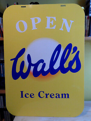 'open - Walls Ice Cream' - Sb94 - 1994 - Double Sided Swing Sign - Panel Only