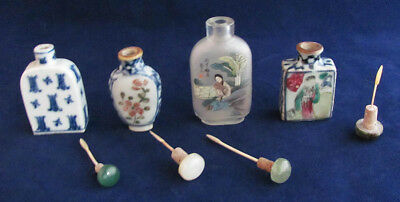 Four Antique Chinese Signed Reverse Painted Glass & Porcelain Snuff Bottles