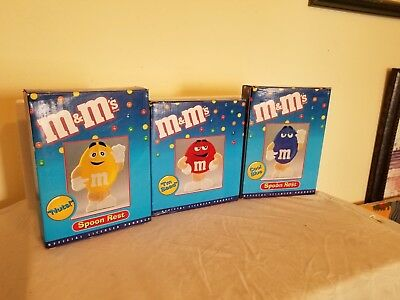 M&M Collectible Set of 3 Spoon Rests - Yellow, Red, and Blue - 1999 NIB