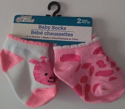 New 2-Pack Baby Socks Pink And White Animal Print Girls 6-12 Months (D1)