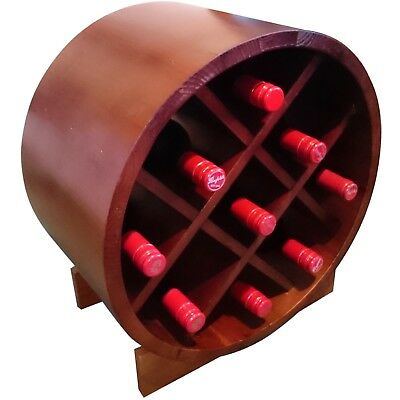 9 Bottle Wine Barrels - Dark Mahogany - Premium Wine Display & Storage Solution.
