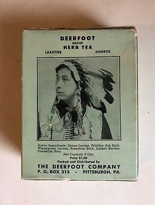 Vtg Unopened Indian Chief Advertisement Deerfoot Co Herb Tea Box Pittsburgh PA