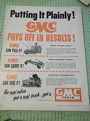 Color Macleans magazine AD May 1953  GMC Truck for real value get a real truck