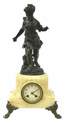 19th C. Antique French Onyx Mantle Mantel Clock with Figural Female Statue!