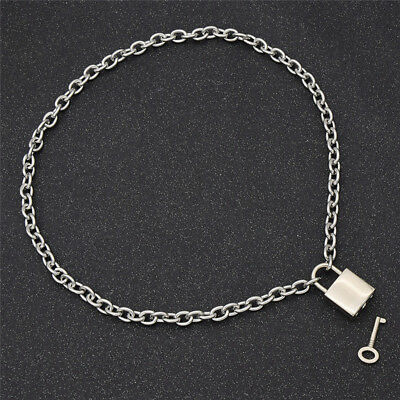Square Lock Pendant Necklace Men Womens Unisex Silver Chain Fashion Jewelry