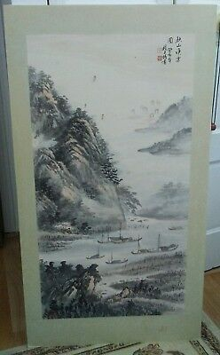 Vintage Chinese Watercolor Painting Landscape Signed 41.5 X 23 inch