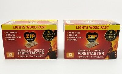 (Lot of 2) Premium All Purpose Wrapped Fire Starter 12 Pack 24Total. Wood Fires