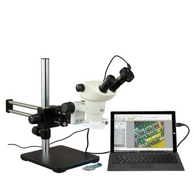 6X-50X Stereo Microscope+Boom Stand+Ring Light+9.0MP Camera+Measurement Software