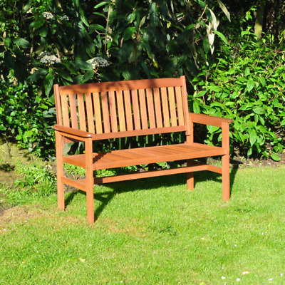 2 Seater Hardwood Garden Bench Outdoor Patio Wood Furniture Weather Treated