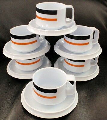 Set of 4 RETRO Melamine Striped Cup and Saucer Sets NZ NEW ZEALAND stackable