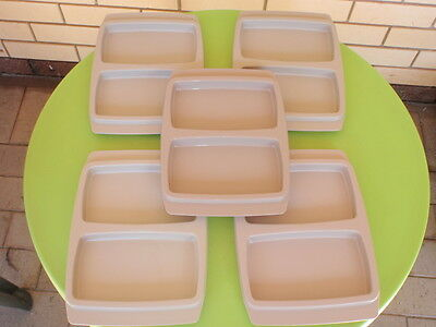 VINTAGE x 5 TUPPERWARE PICNIC CAMPING DIVIDED TRAY  PLATES - OLDER STYLE