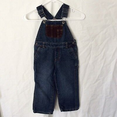 Arizona Jeans Boys Toddler Overalls  Size 3T Denim Dark Wash