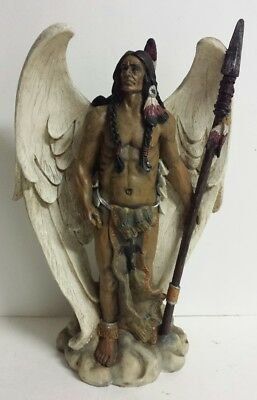 11 Inch Standing Native American Indian Angel w/ Spear Statue Figure - Free Ship