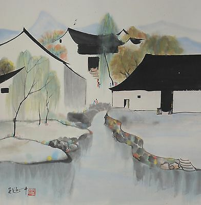 Excellent Chinese Scroll Painting By Wu Guanzhong  P699 吴冠中
