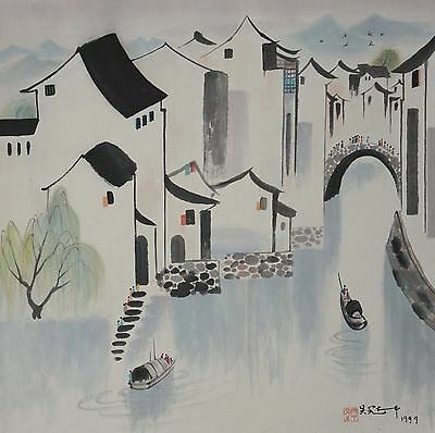 Excellent Chinese Scroll Painting By Wu Guanzhong  P693 吴冠中