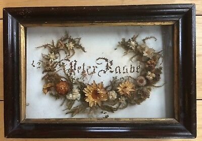 Antique Victorian Small Shadow Box Mourning Wreath with Dried Flowers and Name
