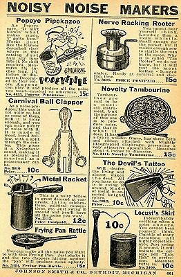 1937 small Print Ad of Noisy Noise Makers Popeye Pipekazoo Devil's Tattoo Racket