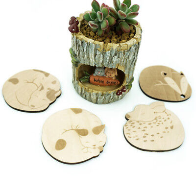 Wooden Animal Carved Coasters Lovely Table Mat Heat Insulation Cup Mat XRK4