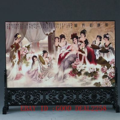 Chinese Lacquerware Handwork Painting Bathing Woman Screen PF005