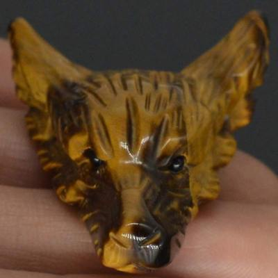 Howling Wolf Yellow Tiger Eye Animal Pendant Hand Carved Stone Necklace Jewelry