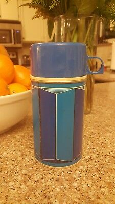 Vintage 1974 Glass lined Thermos Bottle 2810 Blue two tone King-Seeley Thermos