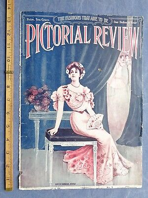 1902 print ad COVER PICTORIAL REVIEW FASHION LADY sexy victorian + FAT REDUCING