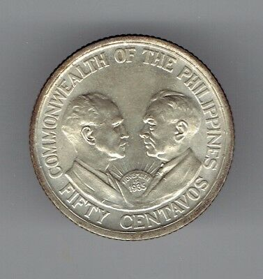 Phillipines 1936 KM#176 uncirculated fifty centavos 0.7500 silver