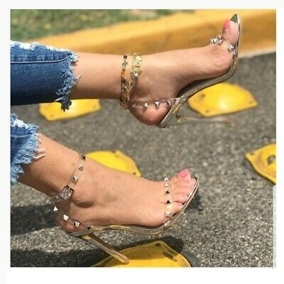 cc91bdbec5c1 New Womena Open Toe Stud Lucite Clear Ankle Strap Sandal Shoe Stiletto High  Heel
